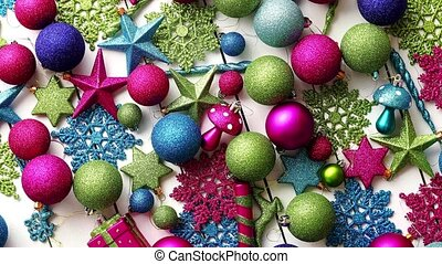 Christmas decoration top view. - Christmas colorful...
