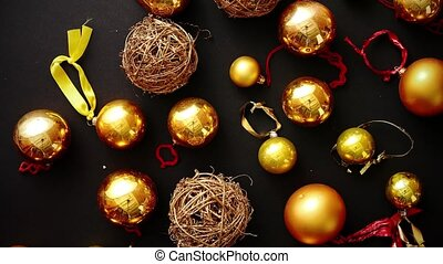 Christmas decoration top view. - Christmas golden...
