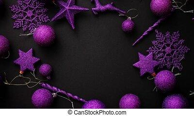 Christmas decoration top view. - Christmas purple...