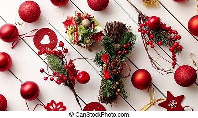 Christmas decoration top view. - Christmas red collection,...