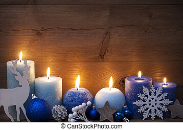 Christmas Decoration With Blue Candles, Reindeer, Ball