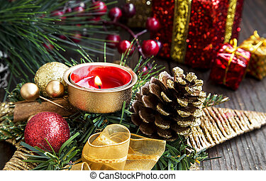 Christmas Decoration with Burning Candle, Fir Tree, Balls and Ribbon