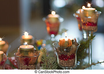 Christmas decoration with candle lights