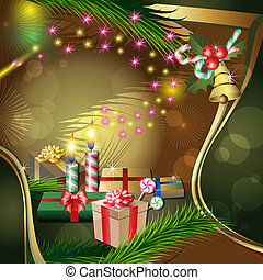 Christmas decoration with candles, gifts, holly, fir and ...