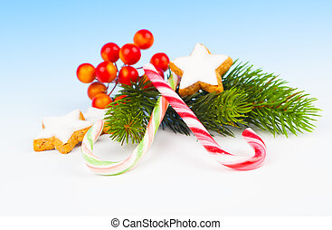 Christmas Decoration with Candy Canes, on a fake snow background.