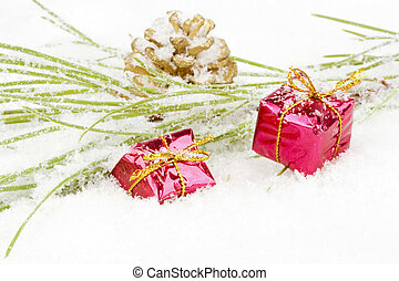 Christmas decoration with fir in the snow
