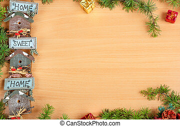 Christmas decoration with fir tree and gift with a motif or moti