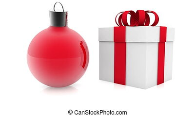 Christmas decoration with gift box on white