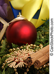 christmas decoration with glitter ball and organic cinnamon