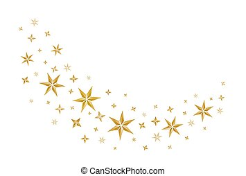 christmas decoration with golden stars on white background