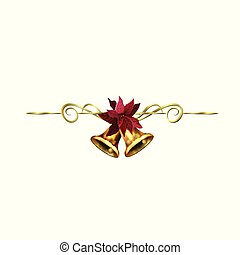 Christmas decoration with golden swirl and bells