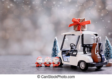 Christmas decoration with golf car on December.