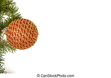 Christmas decoration with green pine or fir and gold round ornam
