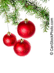 Christmas decoration with green pine or fir and red roud ball or