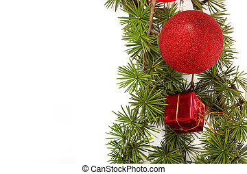 Christmas decoration with green pine or fir and red round orname