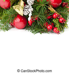 Christmas decoration with green spruce twig on white background