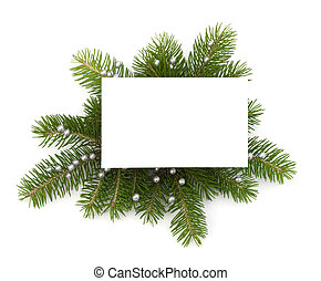 Christmas decoration with greeting card isolated on white ...