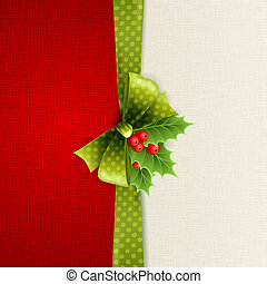 Christmas decoration with holly leaves, bow