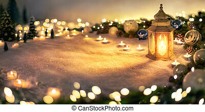 Christmas decoration with lantern and lights