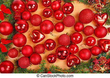 Christmas decoration with many scattered red round ornaments