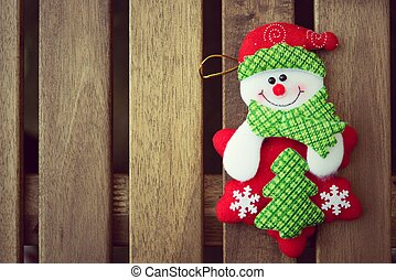 Christmas decoration with on wooden background