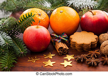 Christmas decoration with oranges
