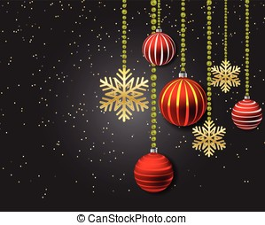 Christmas decoration with red balls and gold snowflakes on a black background.