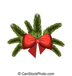 christmas decoration with red bow ribbon
