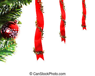 Christmas decoration with ribbons and bauble