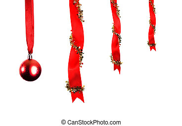 Christmas decoration with ribbons and baubles