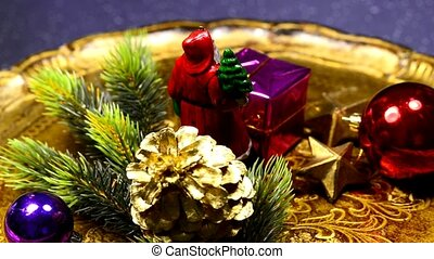 Christmas decoration with Santa Claus on turn table