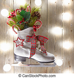 Christmas decoration with skate