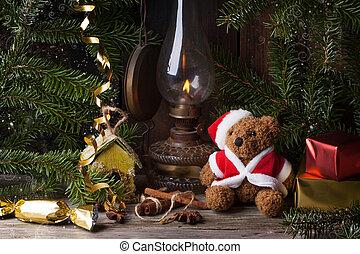 Christmas decoration with teddy bear