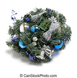 Christmas decoration with the twigs of the spruce and baubles