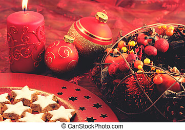 christmas decoration with traditional cookies