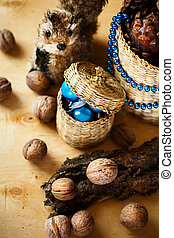 Christmas decoration with walnuts and squirrel