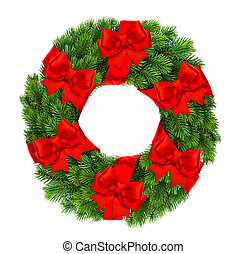christmas decoration wreath with red ribbon bow