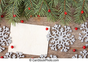 Christmas decorations and blank letter