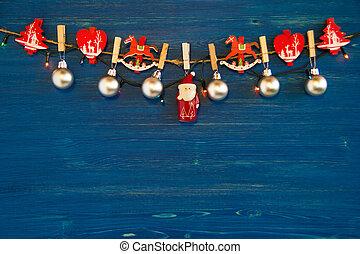 Christmas decorations and Christmas lights on the blue...