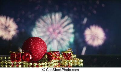 christmas decorations and fireworks on background loopable