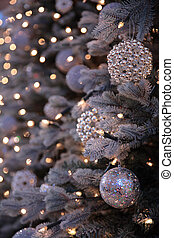 Christmas decorations and lights on New Year tree