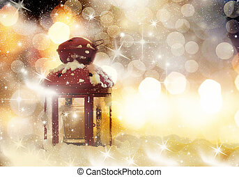 Christmas decorations and red lante