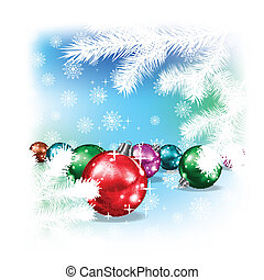 Christmas decorations and snowflakes on winter background