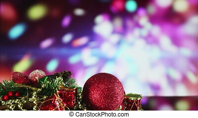 christmas decorations and sparkler on background seamless loop