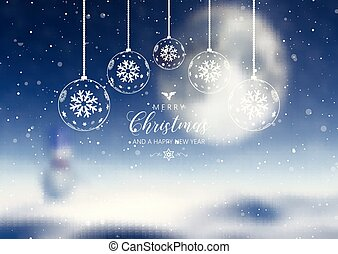 Christmas decorations and text on defocussed background