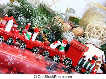 Christmas decorations and toy red train