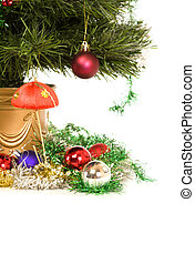 Christmas decorations and tree. Isolated