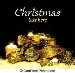 Christmas Decorations background - ribbon; ball, tree candles on fir tree branch