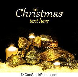 Christmas Decorations background - ribbon; ball, tree...