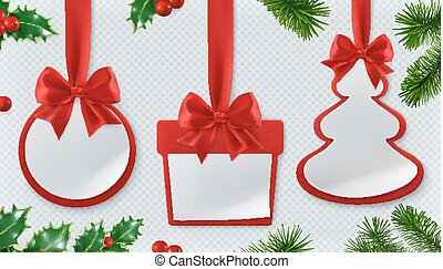 Christmas decorations. Bauble, gift box, spruce tree. Red ribbon and bow. Paper cards 3d vector set